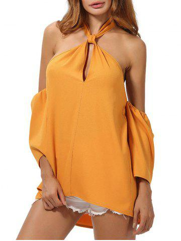 Shops Backless High Low Cold Shoulder Top DEEP YELLOW M