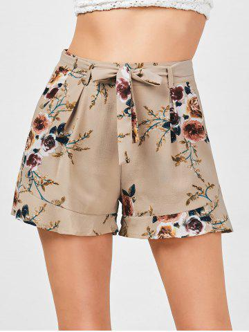 Chic Belted High Waisted Floral Shorts KHAKI S