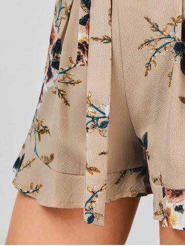 Online Belted High Waisted Floral Shorts - XL KHAKI Mobile