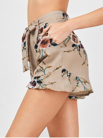 Fashion Belted High Waisted Floral Shorts - XL KHAKI Mobile