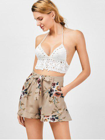 Sale Belted High Waisted Floral Shorts - XL KHAKI Mobile