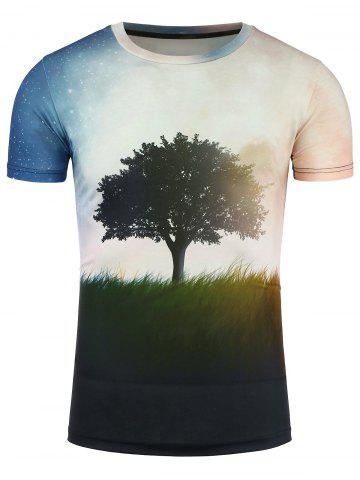 Affordable Short Sleeve 3D Tree and Galaxy Print T-Shirt - XL COLORMIX Mobile