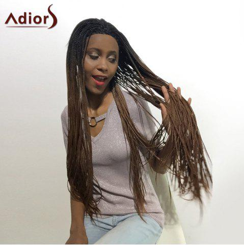 Store Adiors Two Tone Long Afro Braid Lace Front Synthetic Hair - 26INCH 1B/33# Mobile