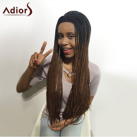 Affordable Adiors Two Tone Long Afro Braid Lace Front Synthetic Hair - 26INCH 1B/33# Mobile