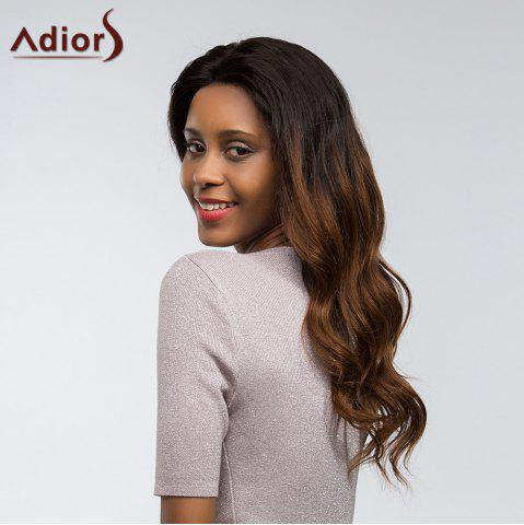 Unique Adiors Dyed Two Tone Long Body Wave Side Part Fluffy Lace Front Synthetic Hair - 22INCH 1B/33# Mobile