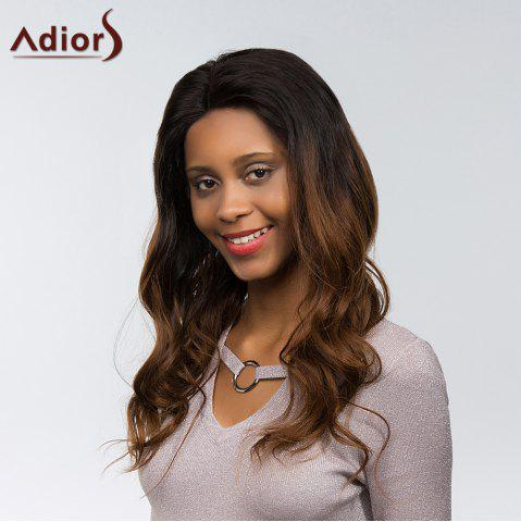 Buy Adiors Dyed Two Tone Long Body Wave Side Part Fluffy Lace Front Synthetic Hair - 22INCH 1B/33# Mobile