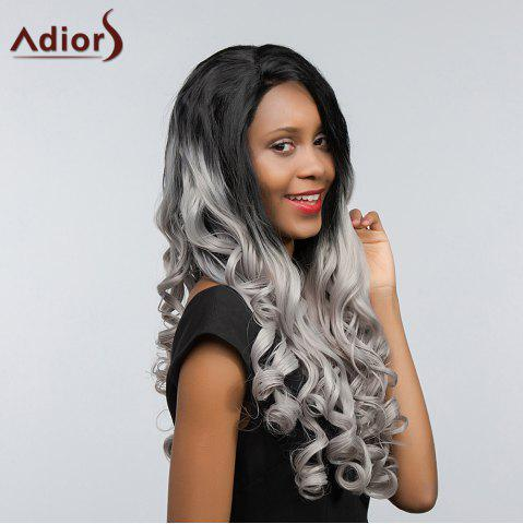 Fashion Adiors Long Free Part Two Tone Lace Front Wavy Synthetic Hair - 26INCH BLACK AND GREY Mobile