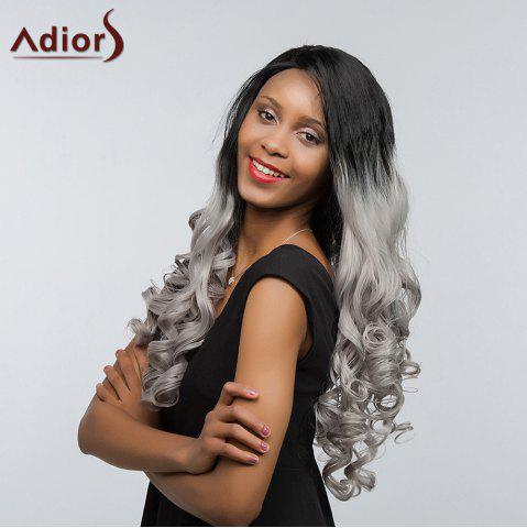 Unique Adiors Long Free Part Two Tone Lace Front Wavy Synthetic Hair - 26INCH BLACK AND GREY Mobile