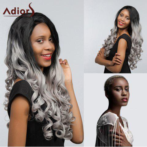 Buy Adiors Long Free Part Two Tone Lace Front Wavy Synthetic Hair - 26INCH BLACK AND GREY Mobile