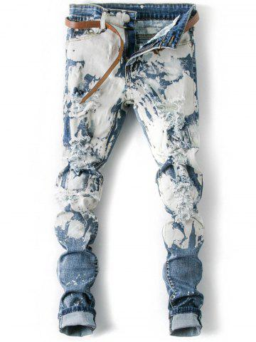 Store Splatter Paint Cuffed Destroyed Jeans - 36 LIGHT BLUE Mobile