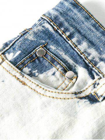 Unique Splatter Paint Cuffed Destroyed Jeans - 36 LIGHT BLUE Mobile