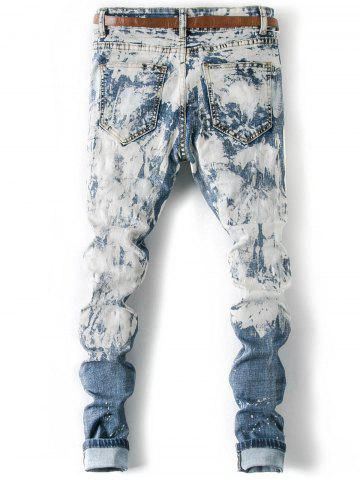 Shop Splatter Paint Cuffed Destroyed Jeans - 36 LIGHT BLUE Mobile