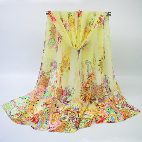 Ethnic Multicolor Blooming Flowers Printed Chiffon Scarf - Palomino - M