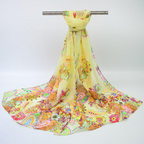 Trendy Ethnic Multicolor Blooming Flowers Printed Chiffon Scarf - PALOMINO  Mobile