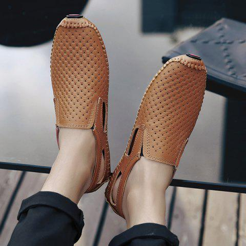 Online Stitching Hollow Out Casual Shoes - 40 BROWN Mobile