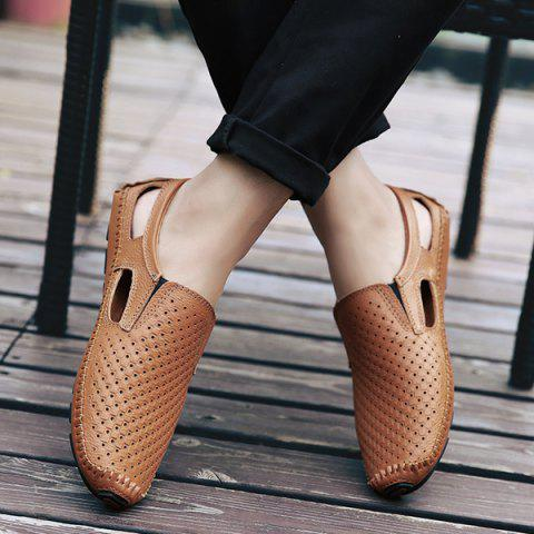 Outfit Stitching Hollow Out Casual Shoes - 40 BROWN Mobile