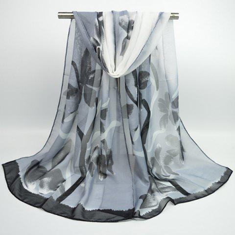 Fashion Gossamer Flowering Branch Printing Shawl Scarf