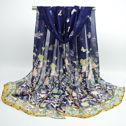 Fashion Lightsome Butterfly Anthemy Blossom Printing Vintage Chiffon Scarf - DEEP BLUE  Mobile