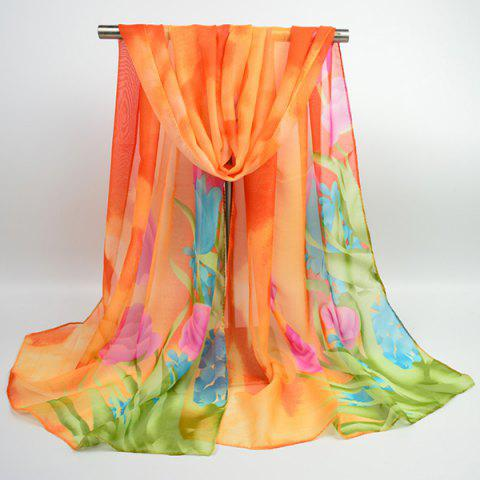Chiffon Multicolor Blossom Shawl Scarf - ORANGE YELLOW