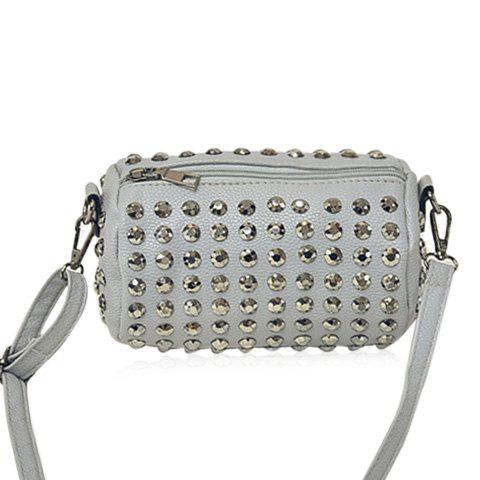 Stud Cylinder Shaped Crossbody Bag - Gray