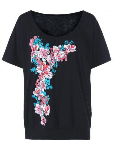 T-shirt floral à col taille grande taille