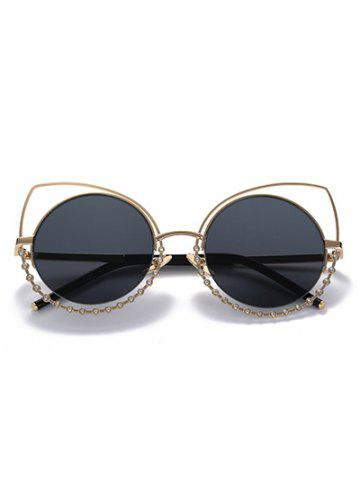 Chic Hollow Out Cat Eye Rhinestone Round Mirror Sunglasses - BLACK AND GREY  Mobile