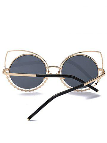 Discount Hollow Out Cat Eye Rhinestone Round Mirror Sunglasses - BLACK AND GREY  Mobile