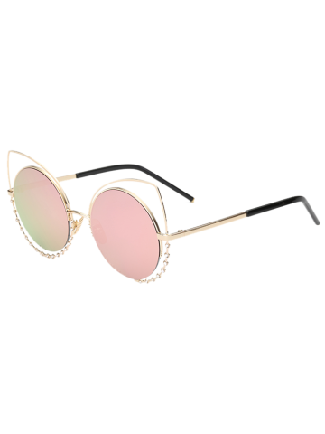 Discount Hollow Out Cat Eye Rhinestone Round Mirror Sunglasses PINK