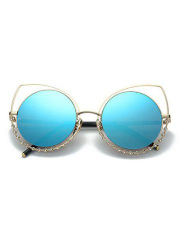 Hot Hollow Out Cat Eye Rhinestone Round Mirror Sunglasses - BLUE  Mobile
