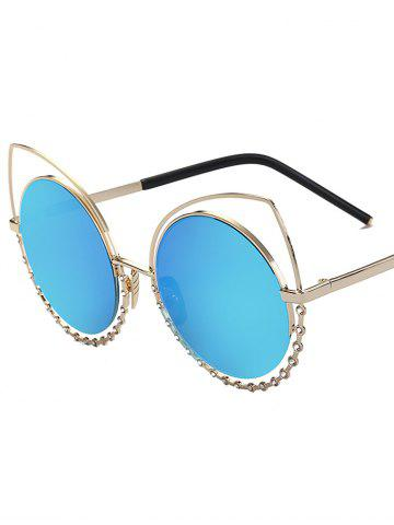 Cheap Hollow Out Cat Eye Rhinestone Round Mirror Sunglasses - BLUE  Mobile