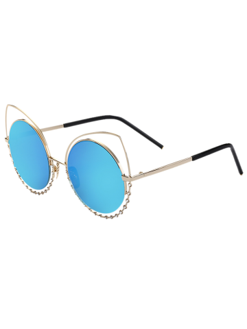 Buy Hollow Out Cat Eye Rhinestone Round Mirror Sunglasses - BLUE  Mobile