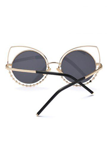 Fashion Hollow Out Cat Eye Rhinestone Round Mirror Sunglasses - BLUE  Mobile