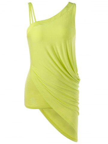 Skew Collar Ruched Asymmetrical Tank Top - Yellow - Xl