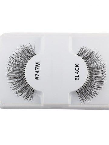 Store 1 Pair False Lengthen Eyelashes - BLACK  Mobile
