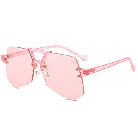 Hot Hollow Out Crossbar Geometric Rimless Sunglasses PINK