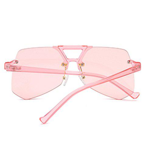 Cheap Hollow Out Crossbar Geometric Rimless Sunglasses - PINK  Mobile
