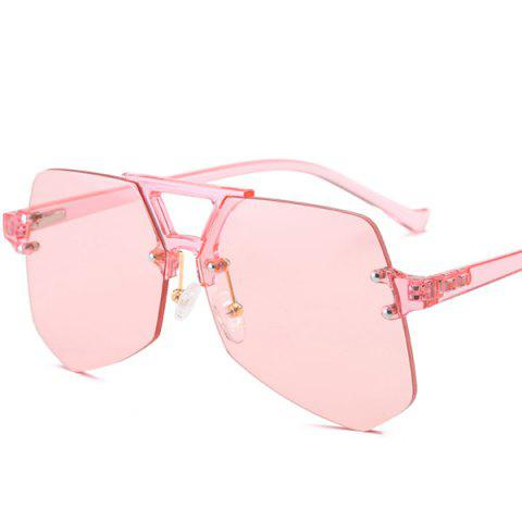 Outfits Hollow Out Crossbar Geometric Rimless Sunglasses - PINK  Mobile