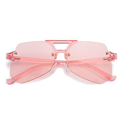 Best Hollow Out Crossbar Geometric Rimless Sunglasses - PINK  Mobile