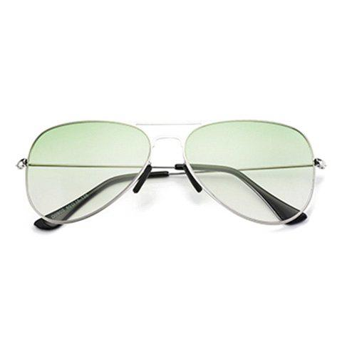 Affordable Metal Crossbar Ombre Pilot Sunglasses - LIGHT GREEN  Mobile