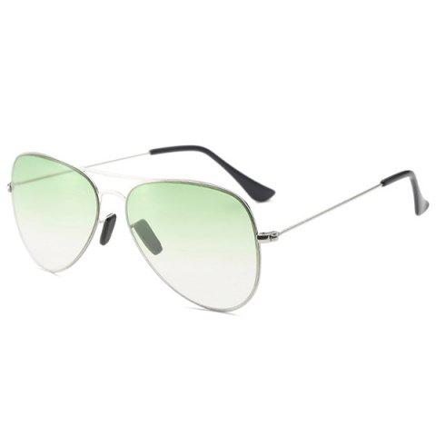 Latest Metal Crossbar Ombre Pilot Sunglasses - LIGHT GREEN  Mobile