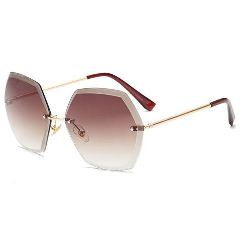 Outfits Ombre Polygon Rimless Street Snap Sunglasses - TEA-COLORED  Mobile