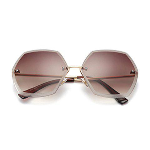 Fancy Ombre Polygon Rimless Street Snap Sunglasses - TEA-COLORED  Mobile