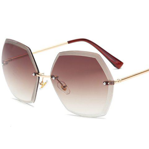 Buy Ombre Polygon Rimless Street Snap Sunglasses - TEA-COLORED  Mobile