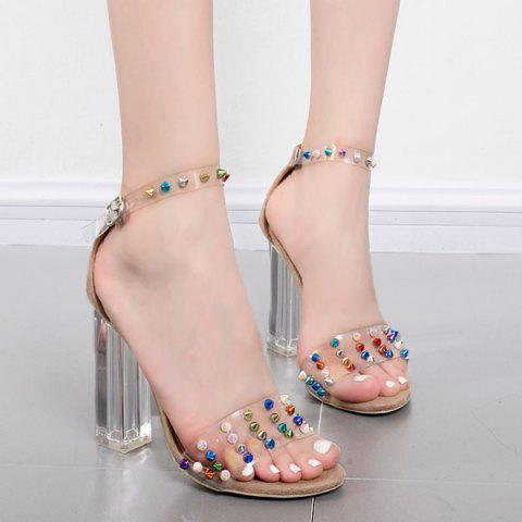 Outfit Ankle Strap Rivets Chunky Heels Sandals APRICOT 38