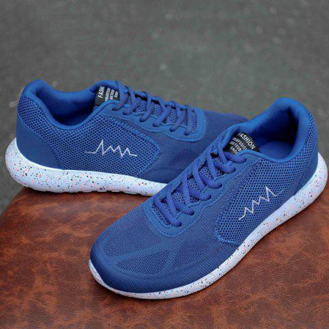 Affordable Embroidery Mesh Athletic Shoes - 40 BLUE Mobile