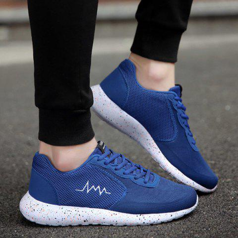 Discount Embroidery Mesh Athletic Shoes - 40 BLUE Mobile