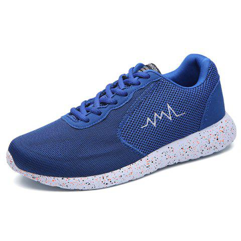 Trendy Embroidery Mesh Athletic Shoes - 40 BLUE Mobile