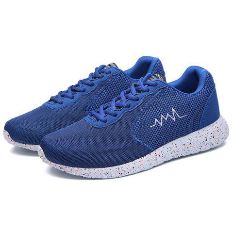 Fancy Embroidery Mesh Athletic Shoes - 40 BLUE Mobile