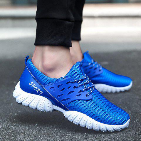 Chic Breathable Patent Leather Mesh Athletic Shoes BLUE 43