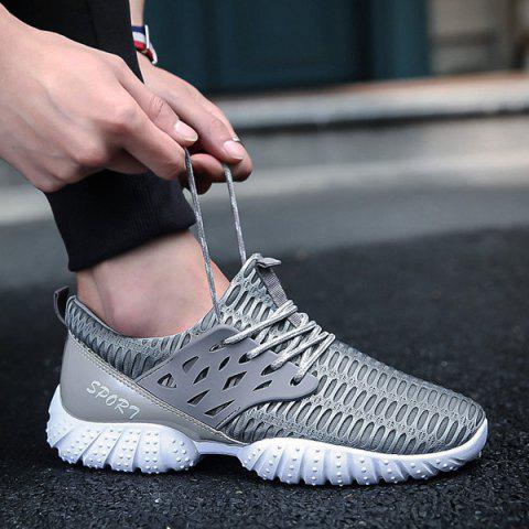 Shops Breathable Patent Leather Mesh Athletic Shoes - 40 GRAY Mobile